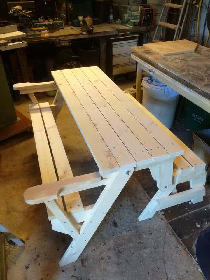 tuinmeubelen steigerhout maken picknickbank