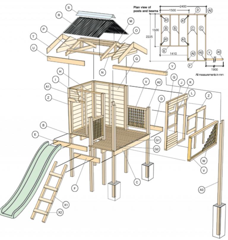 bouwtekening speelhuisje hout