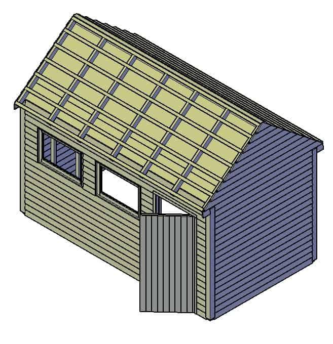 houten schuur bouwtekening Jesse L4500-W2500