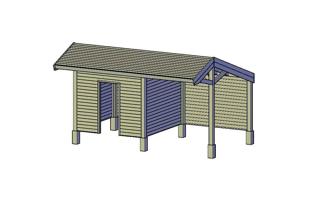 houten schuur bouwtekening type C afgesloten deel