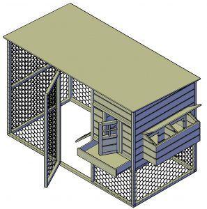 Kippenren met hok 297x300 bouwtekening download