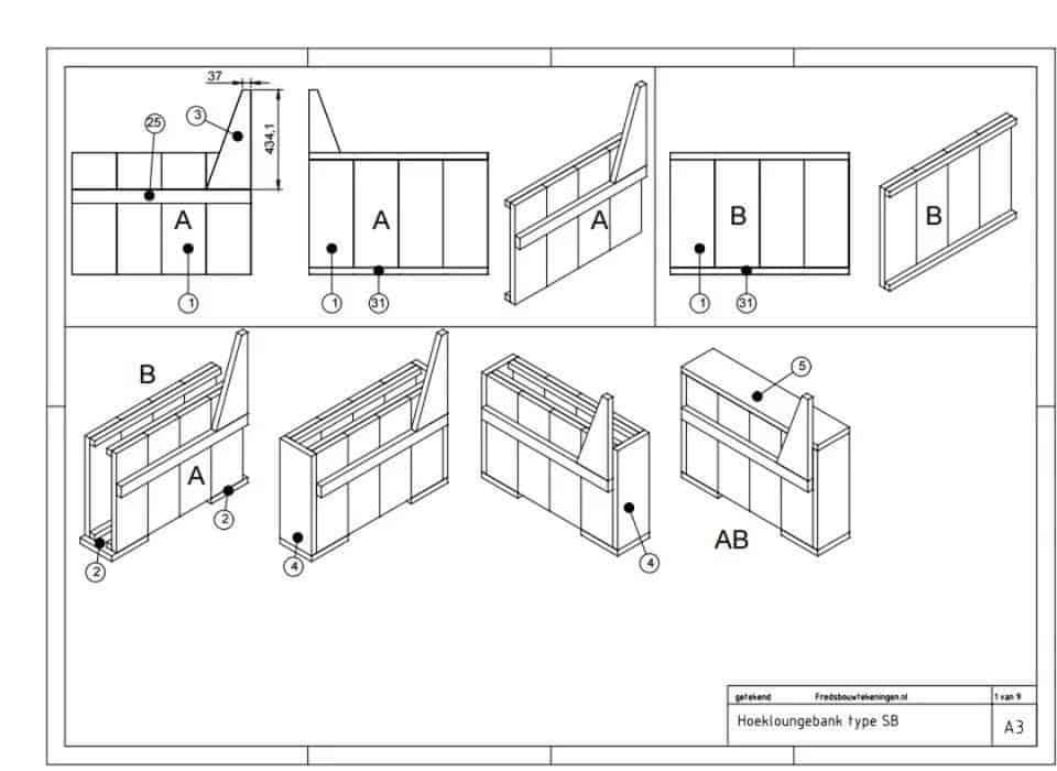 Tuinbank steigerhout maken 6 voorbeelden 2018 for Steigerhout hoekbank bouwtekening