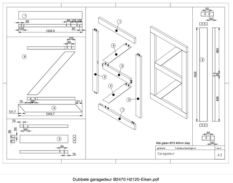 zelf een deur maken van planken bouwtekening