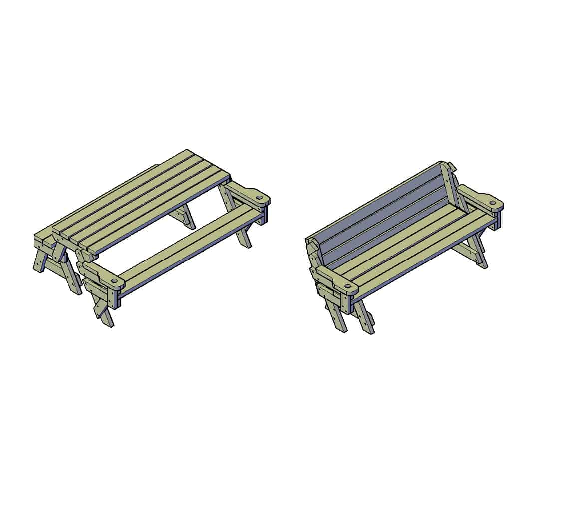 bouwtekening picknick tafel inklapbaar