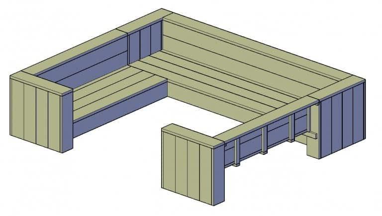 loungebank steigerhout bouwtekening