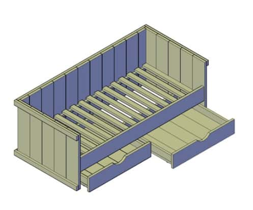 Eenpersoons kajuitbed matras B900 L2000-Steigerhout