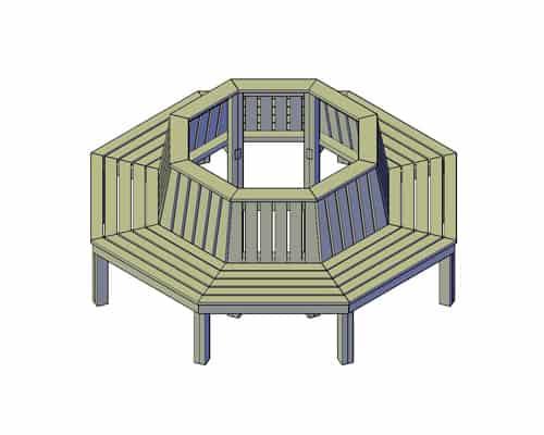 ronde bank van hout zelf maken bouwtekening